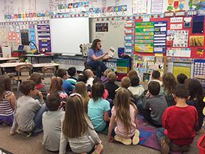Children being read to by teacher