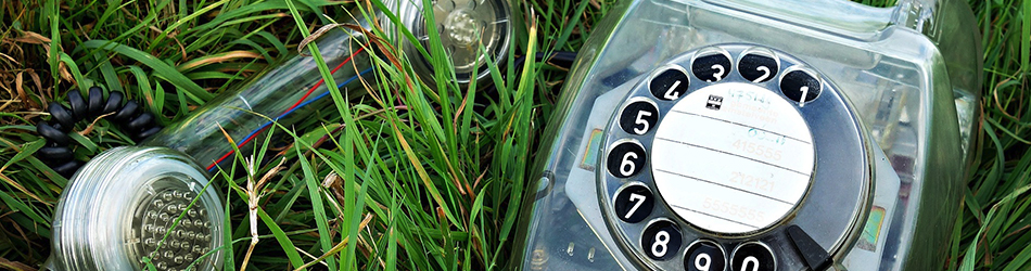 vintage phone laying the grass