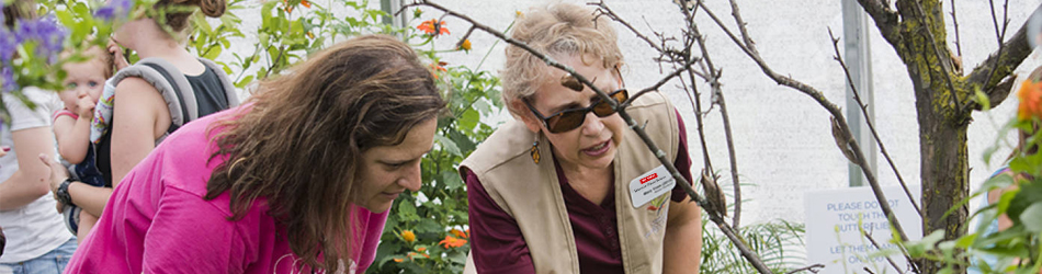Master Gardener answering a woman's question