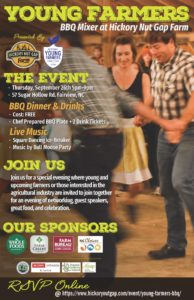 Cover photo for Young Farmers BBQ Mixer at Hickory Nut Gap Farm - Sept. 26