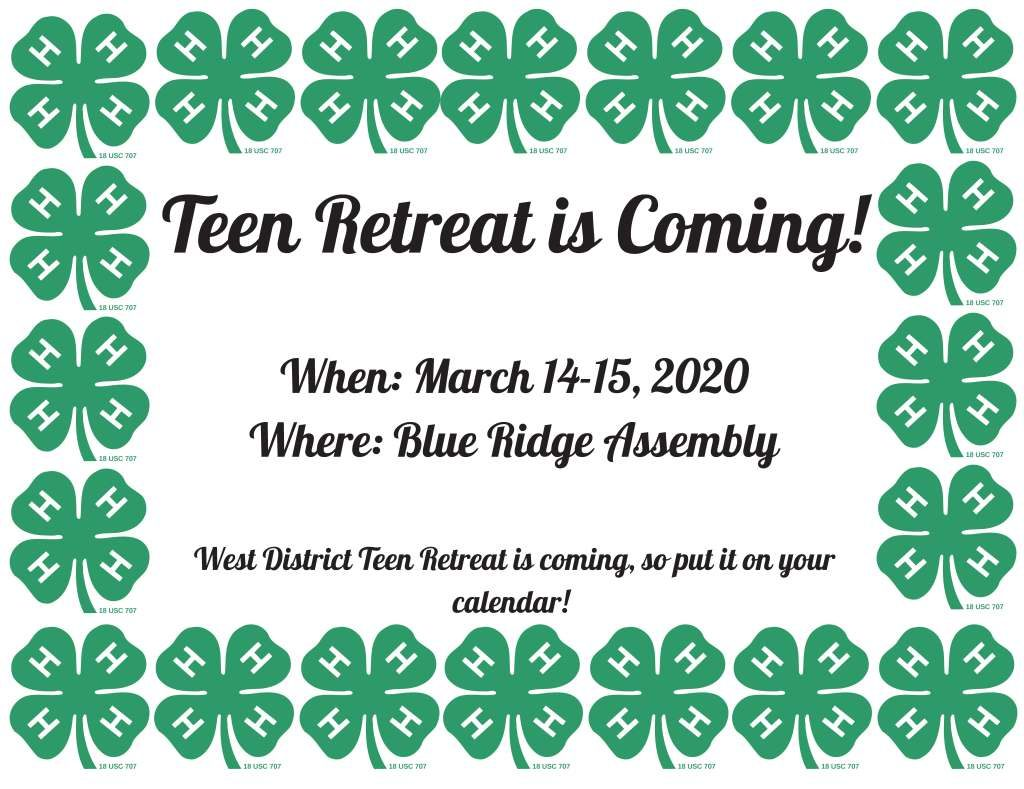 4-H Teen Retreat, March 14-15, 2020