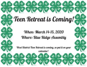 Cover photo for West District 4-H Teen Retreat