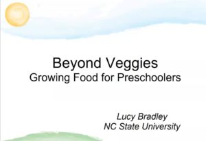 Cover slide for presentation on Edibles for Early Child Care
