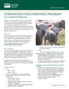 Cover photo for Coronavirus Food Assistance Program (CFAP)
