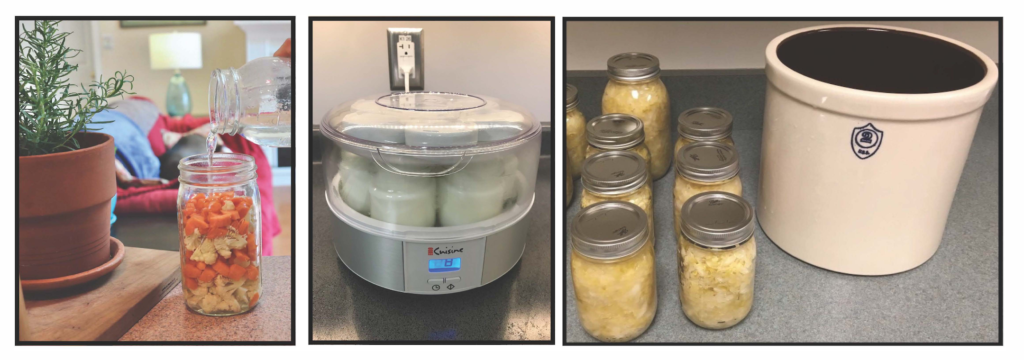 Three pictures of making fermented carrots and cabbage, yogurt and sauerkraut with crock