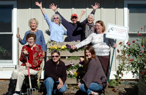 Master Gardener volunteers in the garden