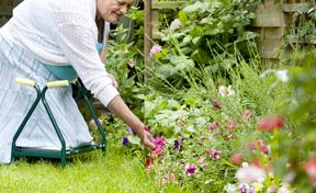 gardener kneeling on adaptive gardening stool